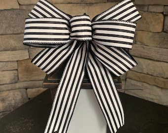 Door Hanger Bow Black and White Cross Pinstripe Bow Black Decor Bows Pinstripe Ribbon Wreath Bow Wired Bow