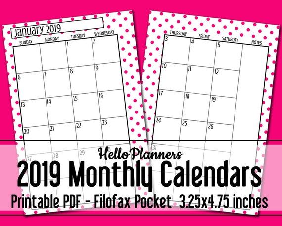 2019 Dated Monthly Calendar Printables Filofax Pocket Size ...