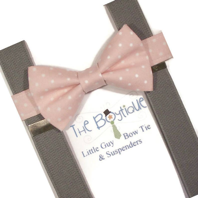 614820acb011 Blush Bow Tie gray Suspenders Blush Polka Dot Toddler | Etsy
