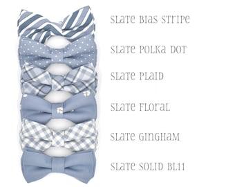 Slate Blue Bow Ties, Mens Bow Tie, Blue Groomsmen Tie, Ring Bearer Slate, Wedding bow tie, Bow Tie for Groom, Boys Blue Bow Tie, Baby Bowtie