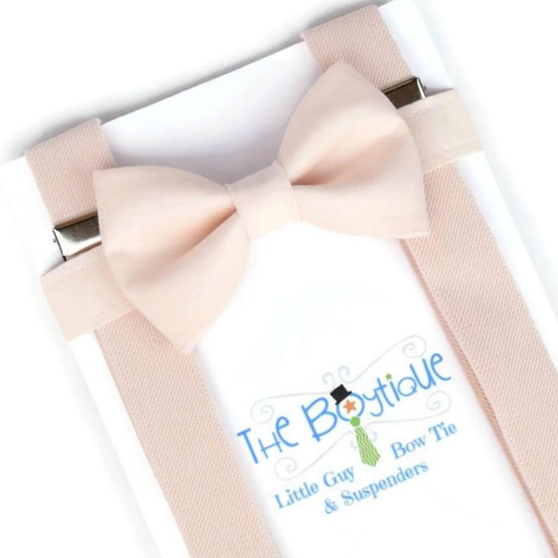fda483cd4d78 Blush Bow Tie and Suspender Set David's Bridal Blush   Etsy