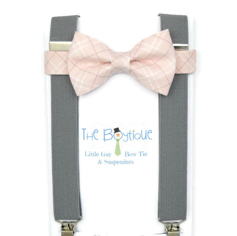 c0dd388cf75b Blush Bow Tie gray Suspenders Blush Plaid Mens Toddler | Etsy