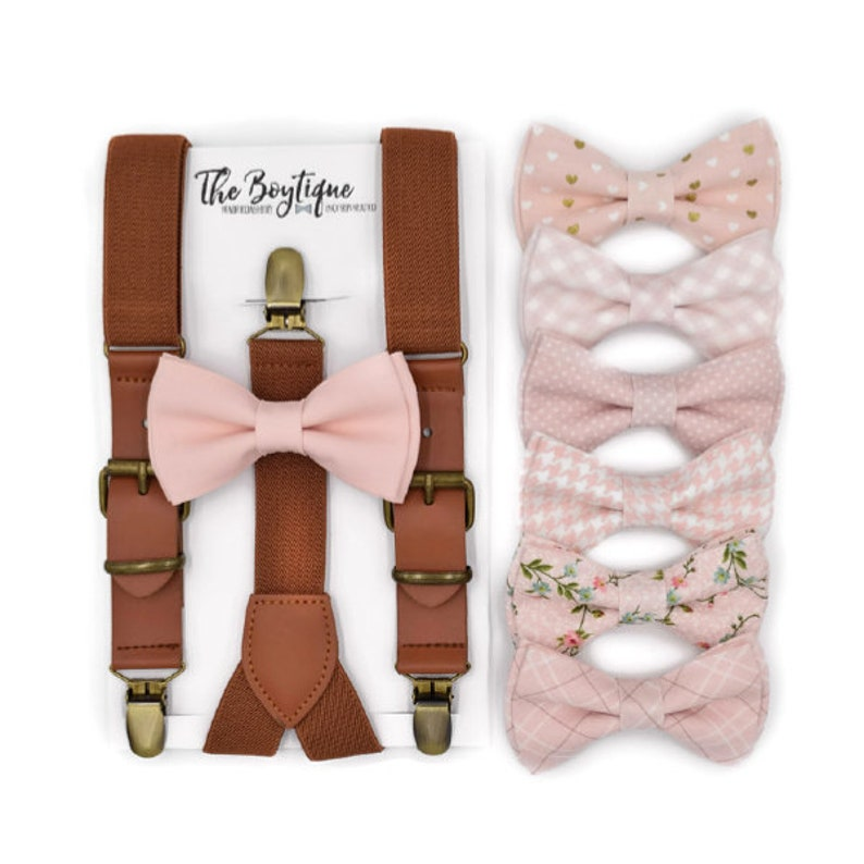 1c707c9d4772 Blush Bow Tie and Suspender Set Leather Suspenders Toddler   Etsy