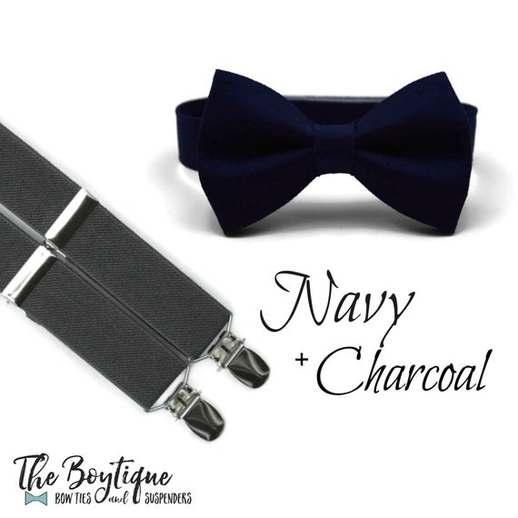 2018 sneakers fantastic savings suitable for men/women Navy Bow Tie and Charcoal: gray Suspenders, Toddler Suspenders, Boys, Kids,  s, Ring Bearer Gift, Page Boy Braces, Wedding Party