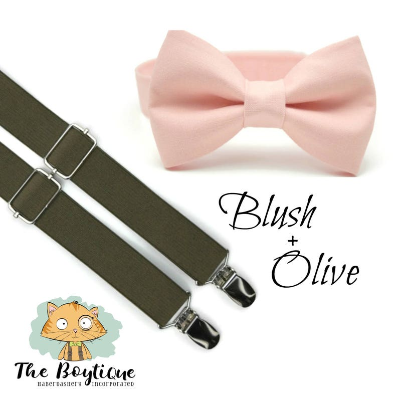 cbb5e8714fa5 Blush Bow Tie Olive Suspenders Suspender Toddler   Etsy