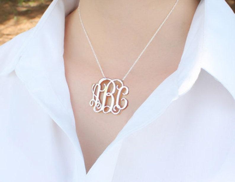 100/% Handmade Monogram necklace 1.25 inch-925 Sterling Silver Monogram Necklace