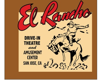 El rancho drive-in theater matchbook reproduction t-shirt vintage advertising