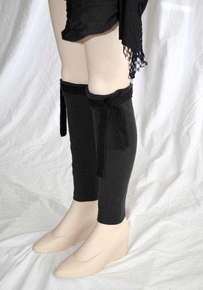 black leg warmers with tie footless socks Black Tie Boot Cuff Black Knit Leg Warmers large stretchy boot cuff Steampunk fairy legs