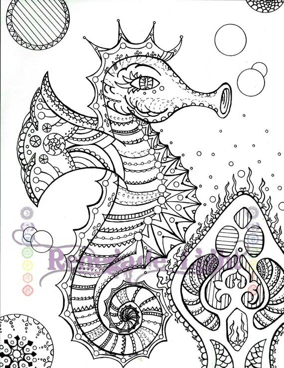 Zentangle Caballito de mar Caballito de mar para colorear | Etsy