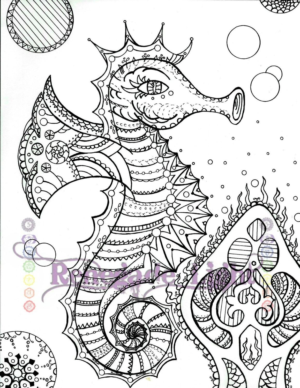 Zentangle Seahorse Seahorse coloring page Seahorse | Etsy