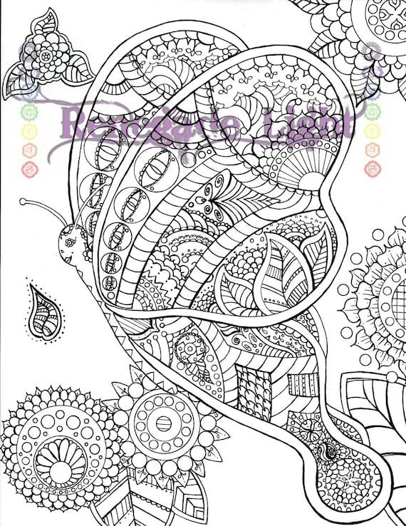 Página para colorear de mariposa mariposa de Zentangle | Etsy