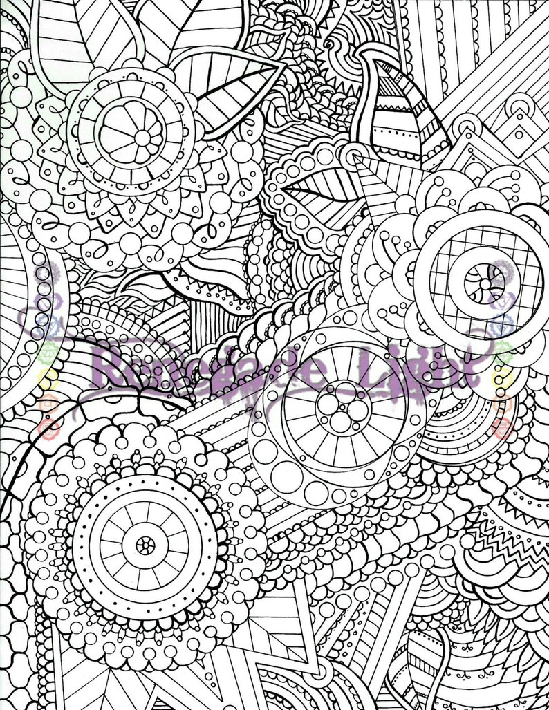 Zentangle coloring page Adult coloring book Zen Meditation | Etsy