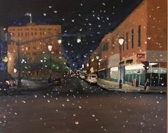 """Light Rain on 3rd- 20"""" x 24"""" acrylic on canvas"""