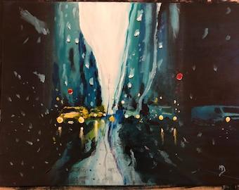 """Monday Rain - 18"""" x 24"""" acrylic on canvas. Framed."""