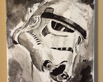 "Stormtrooper inkwash sur toile 9 ""x 12"""