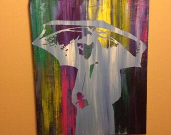 """Rain- 20"""" x 16"""" acrylic. Canvas"""