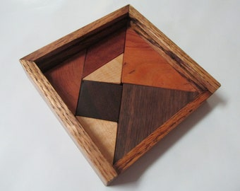 Items similar to Vintage CHINESE TANGRAM Wood Puzzle