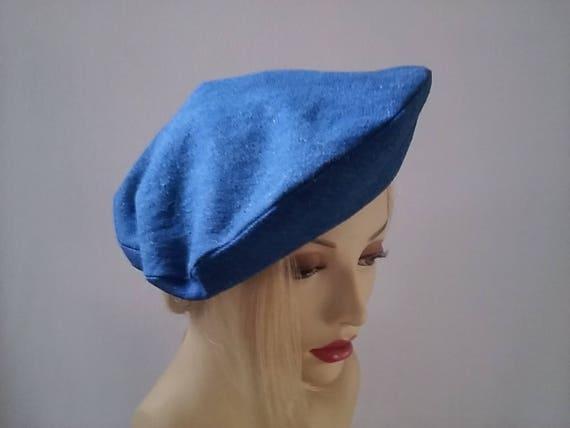 Simply Vintage Beautiful Denim Beret Hat  fa88c9ca275