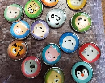 18mm Snap Button Charms - Animals