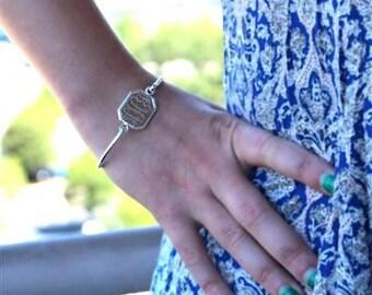 Monogrammed Bracelet, Silver Bangle Bracelet