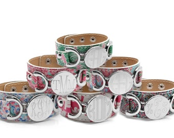 Monogrammed Bracelet, Vegan Leather Cuff Bracelet, Lilly Inspired Bracelet, Engraved