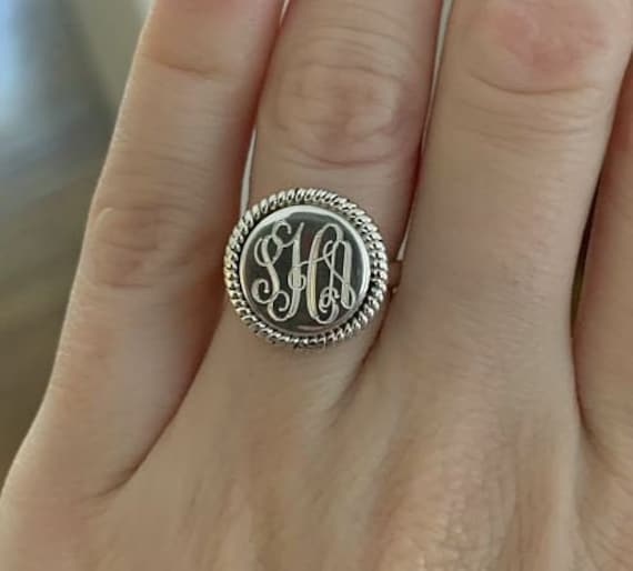 Sterling Silver Monogrammed Ring Round Rope Edging Ring Silver Jewelry Personalized Sterling Ring