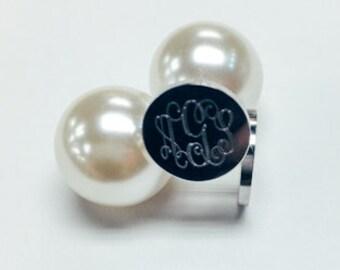 Monogram Pearl Earrings, Monogram Earrings, Monogram Stud, Earrings Sterling Silver