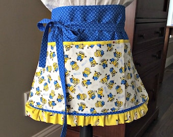 Minion Half Apron with Pockets, Blue and Yellow Ruffle Apron, Craft, Vendor, Utility, Cooking Apron