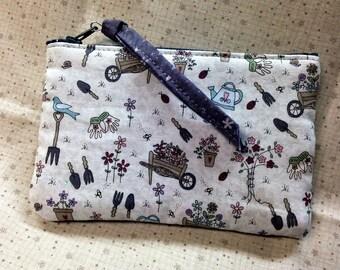 Garden Print Cosmetic Bag, Small Handmade Zipper Pouch, Spring Celebration Coin Purse Gardener Gift