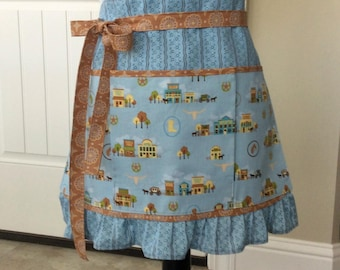 Western Teacher Apron with Pockets, Blue Brown Old West Scenes Half Apron, Craft, Vendor, Utility, Cooking Apron