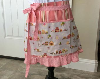 Western Teacher Apron with Pockets, Pink Brown Old West Scenes Half Apron, Craft, Vendor, Utility, Cooking Apron
