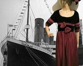 1900s Edwardian Dresses, 1910s Dresses TITANIC ATTIRE ENSEMBLE  3pc Regency Dinner Dress  Hat  Sash  Cranberry $393.90 AT vintagedancer.com