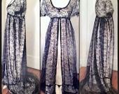 Vintage Tea Dresses, Floral Tea Dresses, Tea Length Dresses TITANIC REGENCY BALL Gown Champagne Ice  Black Lace $269.90 AT vintagedancer.com