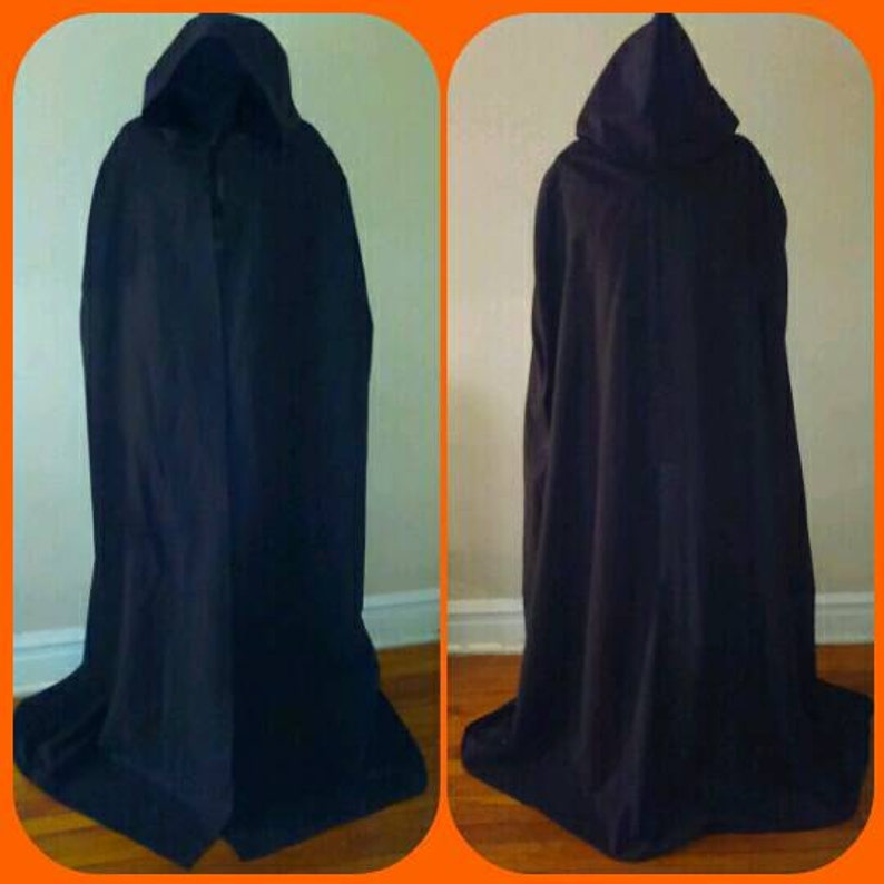 Closed Front Sith MEDIEVAL FLOOR LENGTH Cloak Star Wars Darth Vader Cloak Oversize Hood