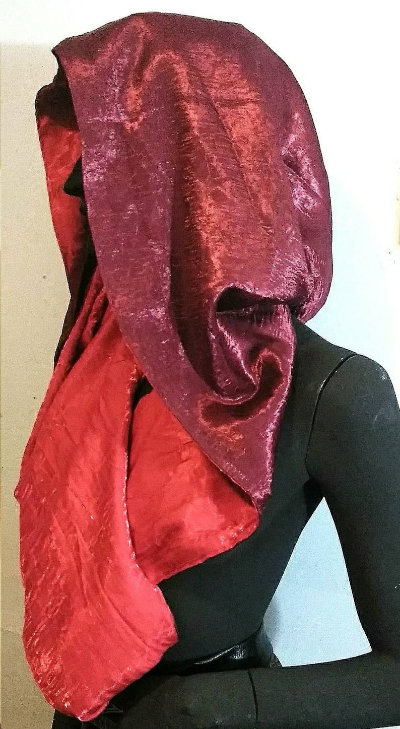 Coral Red and Cranberry REVERSIBLE HALTER-HOODIE  Wrap Accessory