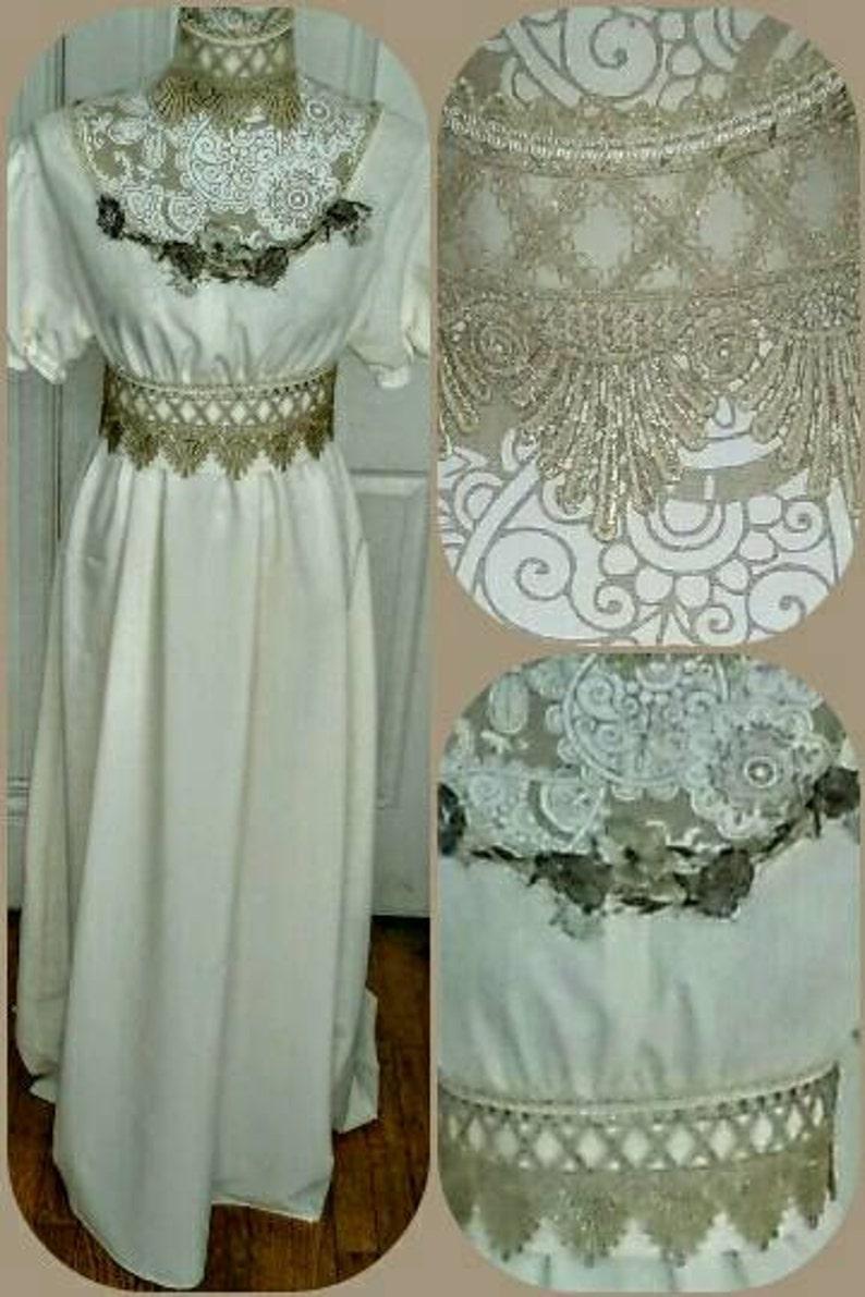 Edwardian Evening Gowns , Ballgowns, Formal Dresses EDWARDIAN CREME LATTICE Ball gown & Neckpiece Ensemble - 3pc Regency Re-Enactment $239.90 AT vintagedancer.com