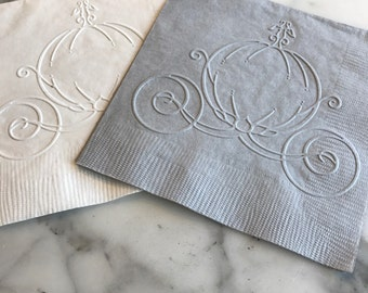 Cinderella Carriage Hand Embossed Cocktail Napkins