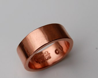 PURE HARMONIOUS  COPPER Ring - 7mm Copper Ring - Wide Ring Band - Plain copper Band - Wedding Band - Unisex Style Ring