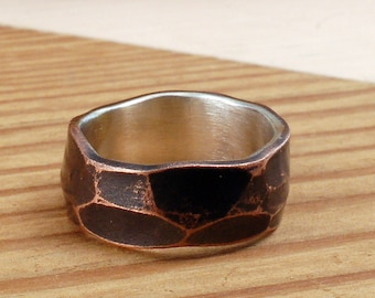 FACETED 8mm COPPER and SILVER Ring - Architectural Ring-Copper Ring - Ring Band - Textured Band - Wedding Band - Unisex Style Ring