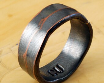 6mm COPPER RING - Architectural Ring - Copper Ring - Wide Ring Band - Textured Band - Wedding Band - Unisex Style