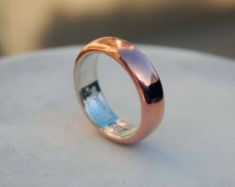 COMFORT FIT Copper and Silver RING - 5mm Copper and Silver Ring - Wide Ring Band - Plain copper Band - Wedding Band - Unisex Style Ring