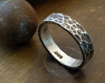 5mm Hammered Silver Ring - Pure Silver Ring - Forged Fine Silver Ring - Stacking Ring - Great Wedding Bands - Modern Ring -Unisex Style Ring