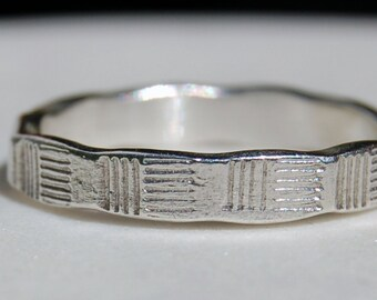 SILVER WEDDING RING -  Fine Silver Ring - Architectural  - Slim Ring Band-Textured Band - Wedding Band - Unisex Style Ring