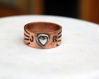 SILVER HEART On COPPER Initial Ring  - Silver Band with 2 Initials - Great Mommy or Freindship Ring - Unisex Style Ring