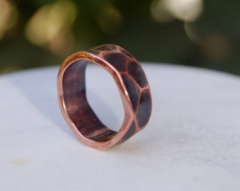 CLASSIC COPPER RING - Hammered Copper Ring - Copper Ring - Wide Ring Band - Textured Band - Wedding Band - Unisex Style Ring