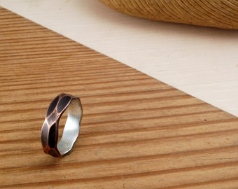 FACETED 6mm COPPER and SILVER Ring - Architectural Ring-Copper Ring - Ring Band - Textured Band - Wedding Band - Unisex Style Ring