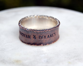 CAPTIVATE COPPER and SILVER Ring - 9mm Copper and Silver Ring - Wide Ring Band - Ring with Options - Wedding Band - Unisex Style Ring