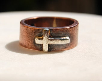 SILVER CROSS on COPPER  Band  - Silver Band with Silver Cross - Unisex Style Ring