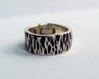 TREE BARK Fine Silver Ring - Completely Hand Made in Pennsylvania USA - Pure Silver Ring - Customize - Wedding Band - For Men & Women