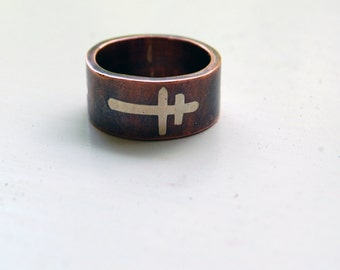 CROSS of LORRAINE Ring - Crusader's Cross - Patriarchal Cross - Cross Ring - Wide Ring Band - Textured Band - Wedding Band - Unisex Style